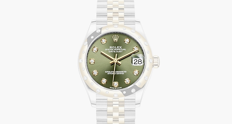 Olive green set with diamonds