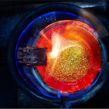Gold in furnace